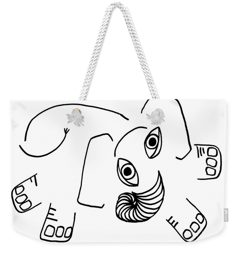 Elephant Weekender Tote Bag featuring the drawing Baby Elephant by Sarah Loft