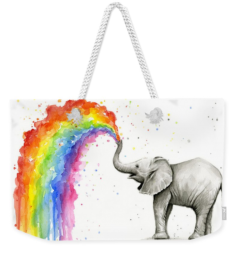 Baby Weekender Tote Bag featuring the painting Baby Elephant Spraying Rainbow by Olga Shvartsur