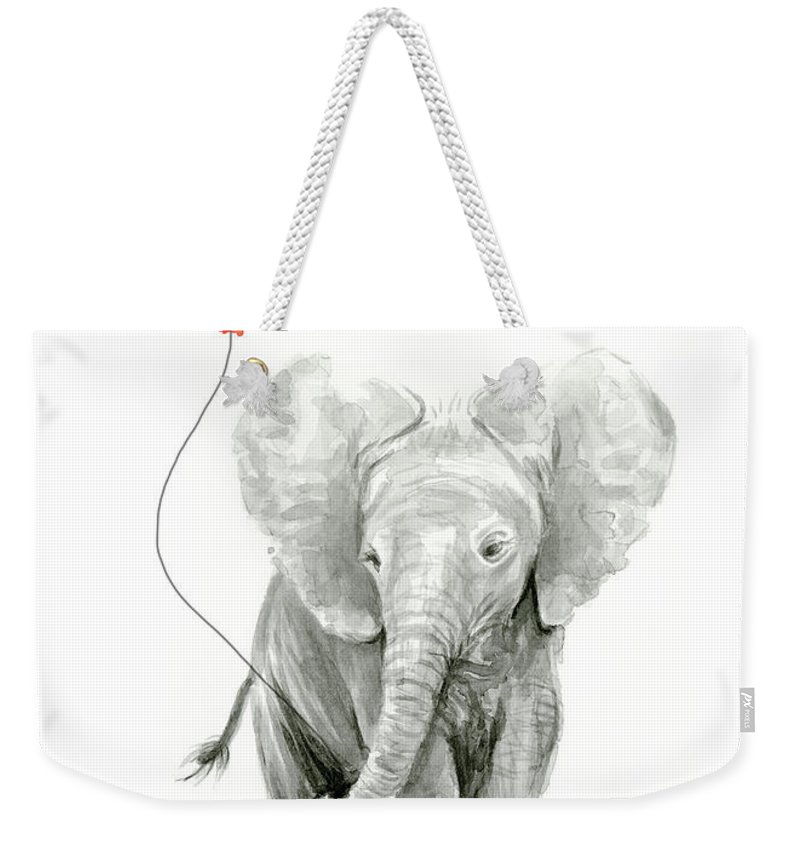 Elephant Weekender Tote Bag featuring the painting Baby Elephant Watercolor Red Balloon by Olga Shvartsur