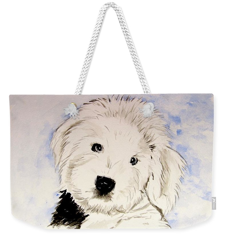 Old English Sheepdog Weekender Tote Bag featuring the painting Baby Higgins by Carol Blackhurst