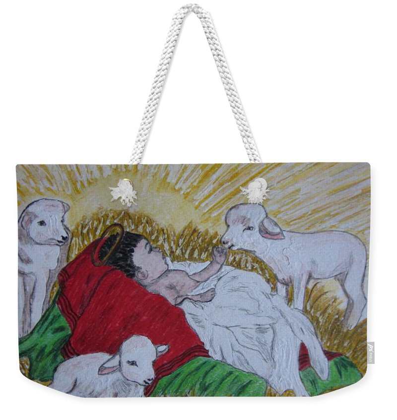 Saviour Weekender Tote Bag featuring the painting Baby Jesus At Birth by Kathy Marrs Chandler