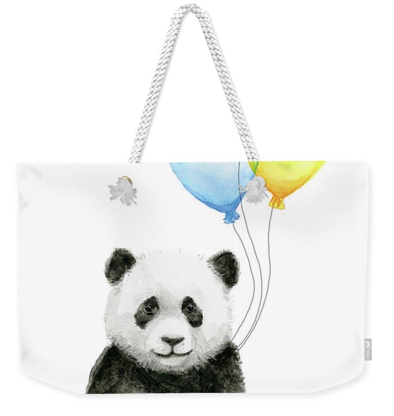 Baby Panda Weekender Tote Bag featuring the painting Baby Panda Watercolor With Balloons by Olga Shvartsur