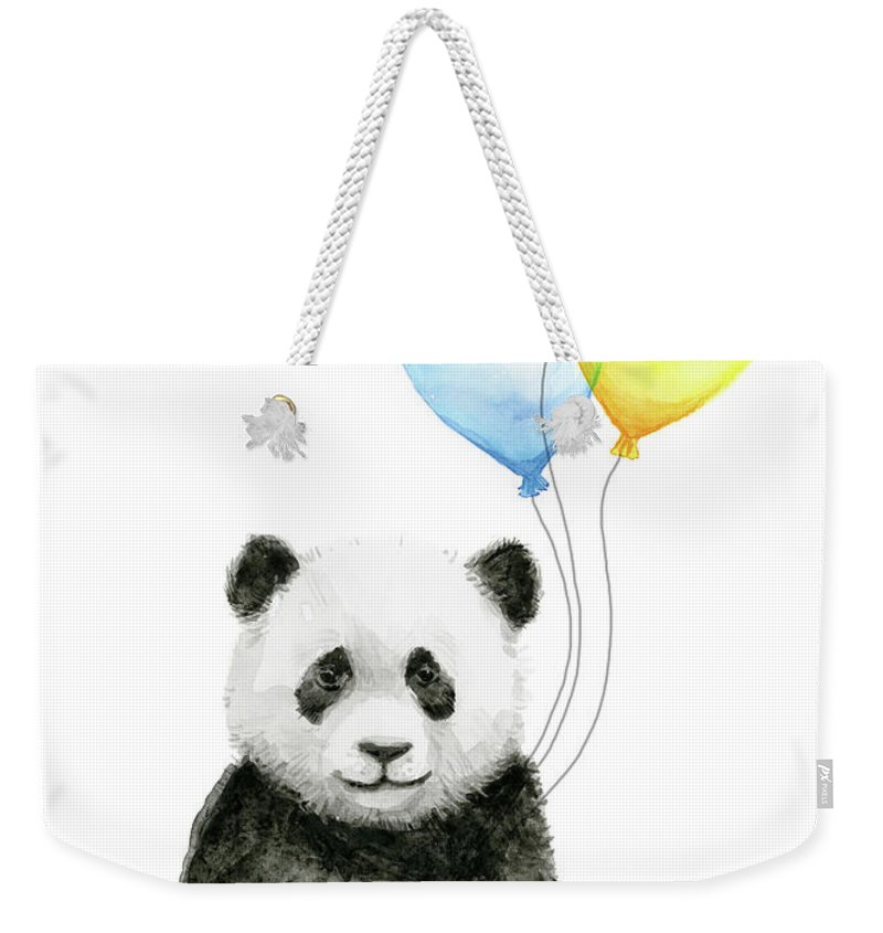 Baby Panda Weekender Tote Bag featuring the painting Baby Panda With Heart-shaped Balloons by Olga Shvartsur