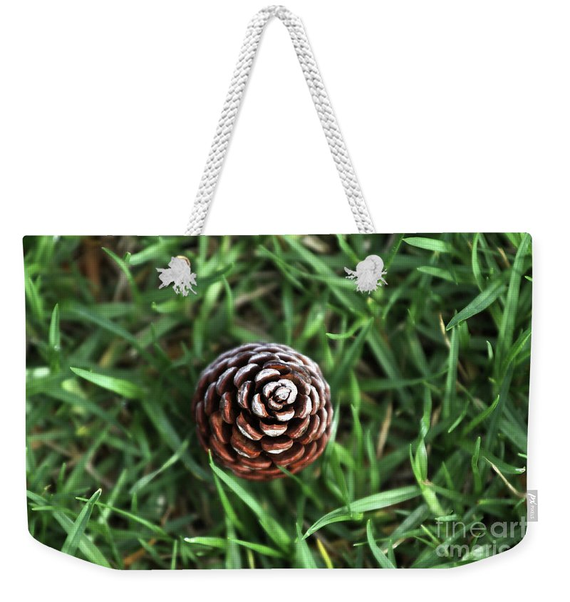 Grass Weekender Tote Bag featuring the photograph Baby Pine Cone by Stephen Mitchell