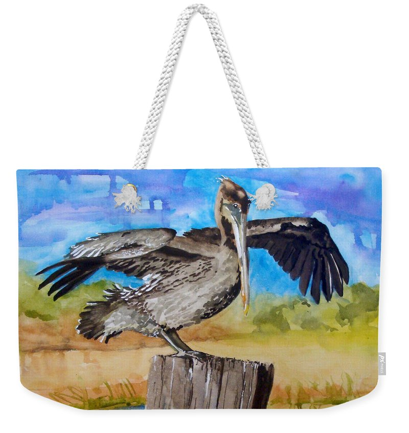 Pelican Weekender Tote Bag featuring the painting Baby Spreads His Wings by Jean Blackmer