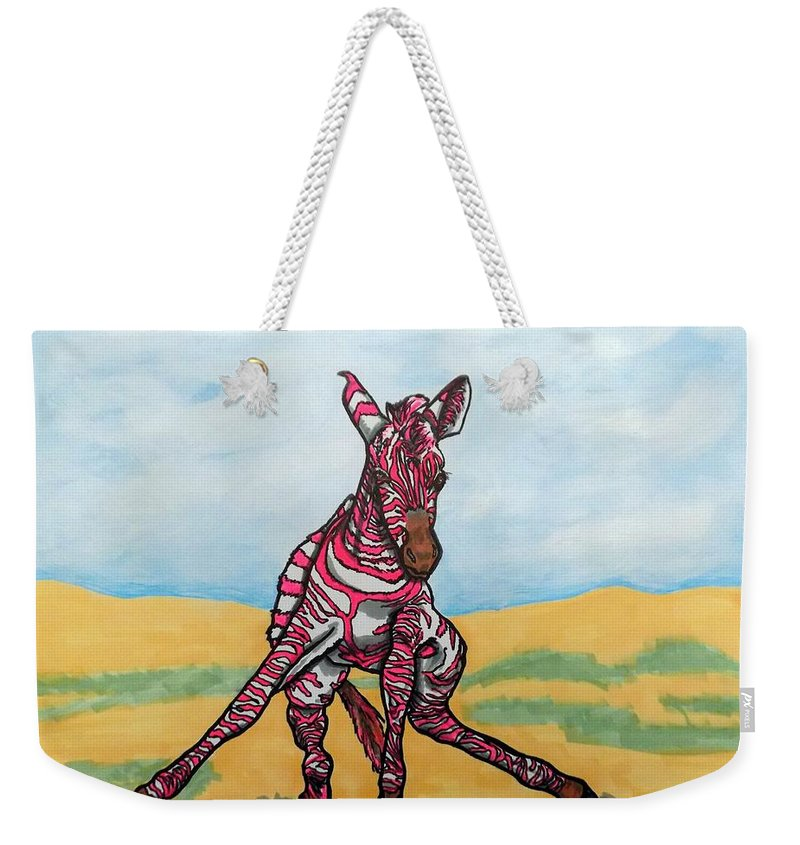 Zebras Weekender Tote Bag featuring the painting Baby Zebra by Mary Sperling