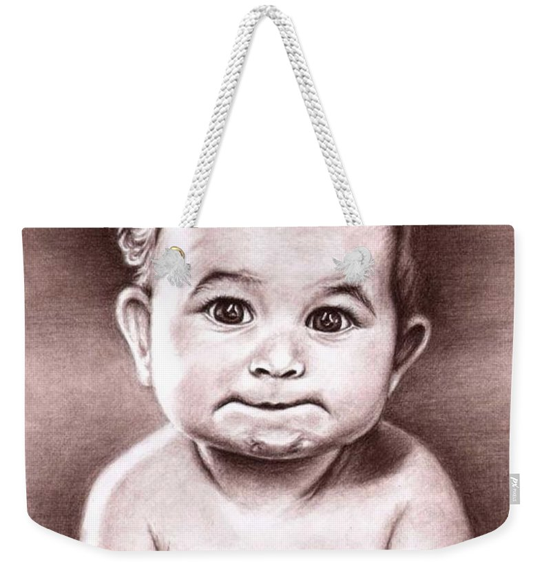 Baby Child Kind Enfant Face Sepia Charcoal Portrait Realism Weekender Tote Bag featuring the drawing Babyface by Nicole Zeug