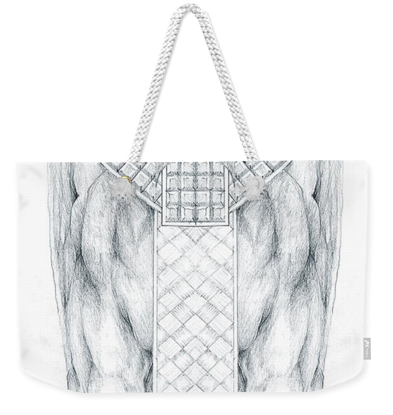 Babylonian Weekender Tote Bag featuring the drawing Babylonian Sphinx Lamassu by Curtiss Shaffer