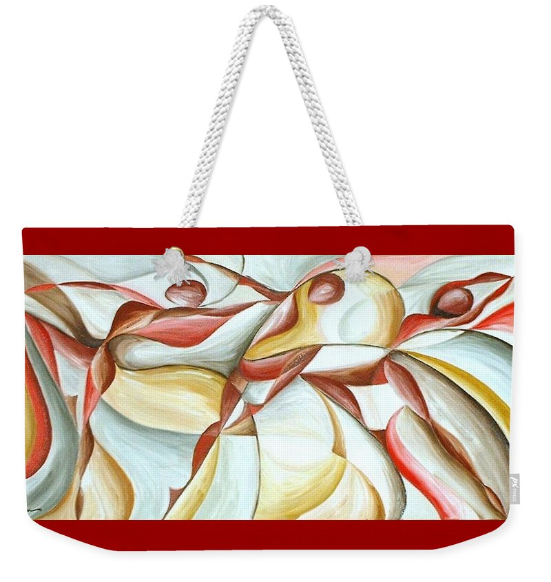 Figure Weekender Tote Bag featuring the painting Bacchanal by Rowena Finn