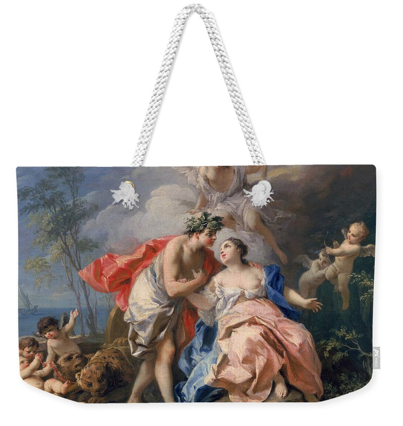 Bacchus Weekender Tote Bag featuring the painting Bacchus And Ariadne by Jacopo Amigoni