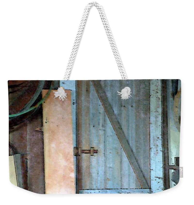 Tools Weekender Tote Bag featuring the painting Back Corner Closet by RC DeWinter