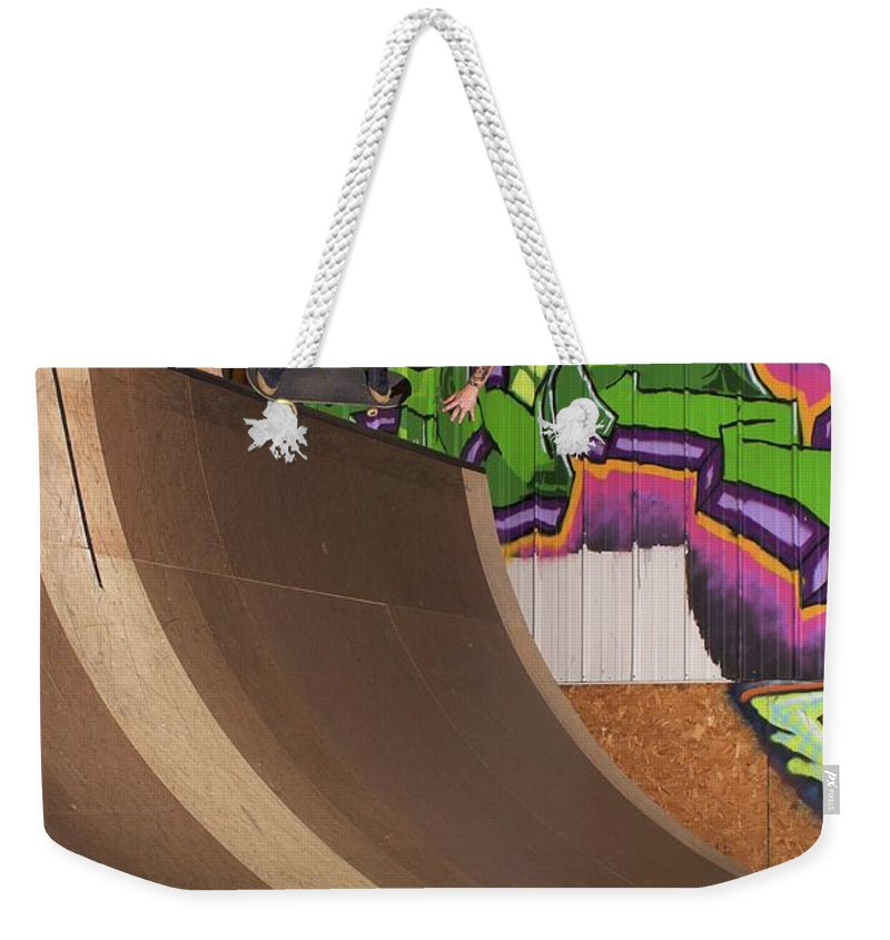 Skate Weekender Tote Bag featuring the photograph Back Crook by Jordan Mayle