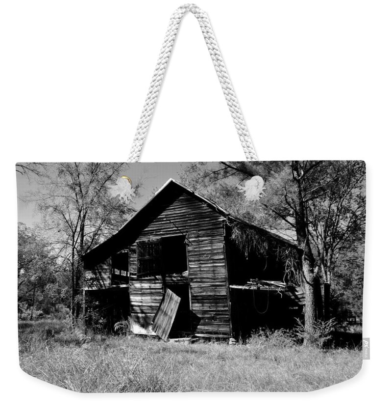 Back On The Farm Black And White Weekender Tote Bag featuring the photograph Back On The Farm Black And White by Lisa Wooten