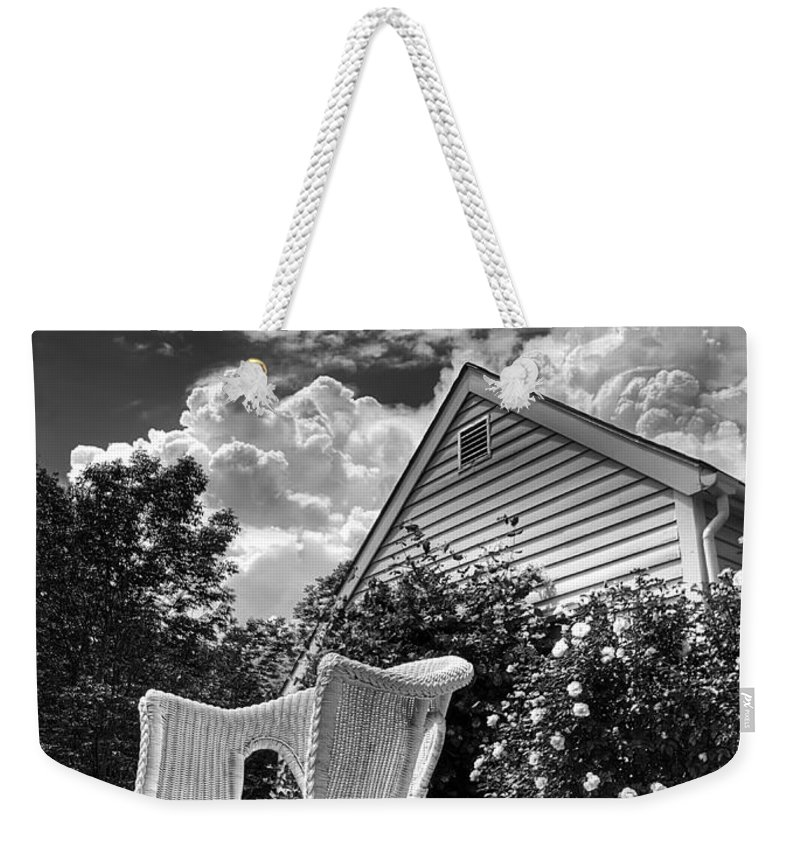Vermont Weekender Tote Bag featuring the photograph Back Porch Rocking Chair by Tammy Wetzel