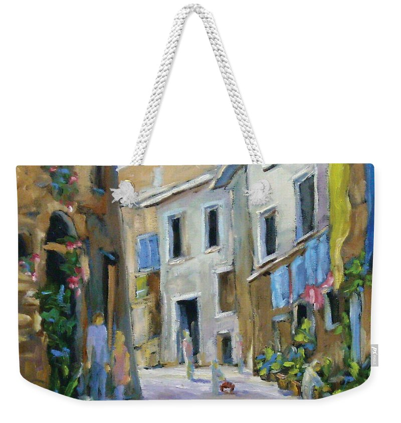 Urban Weekender Tote Bag featuring the painting Back Street by Richard T Pranke