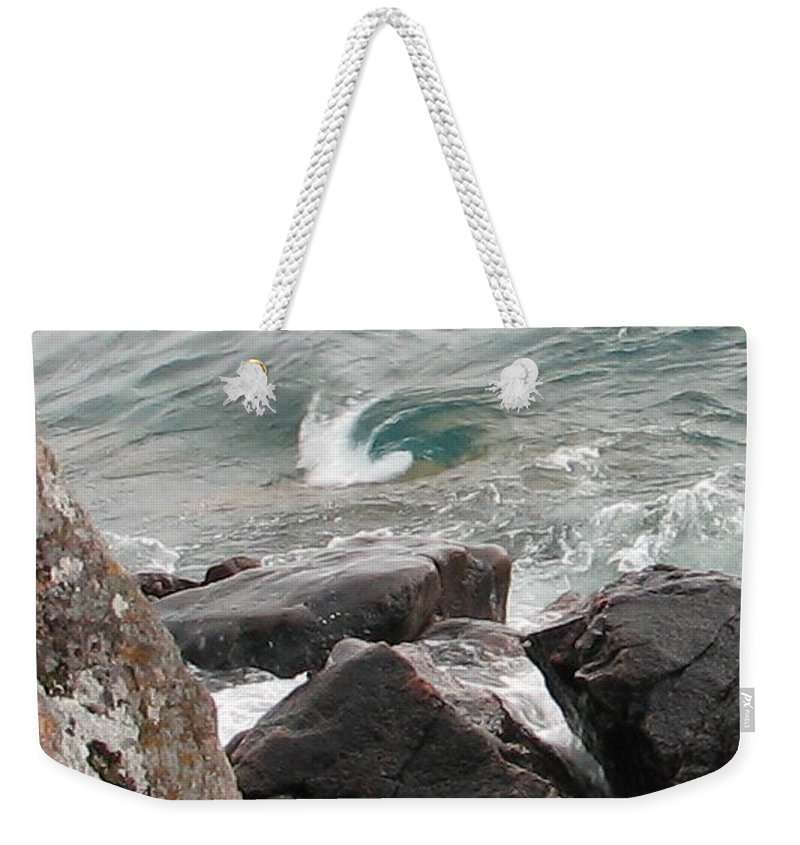 Wave Weekender Tote Bag featuring the photograph Back Swirl by Kelly Mezzapelle