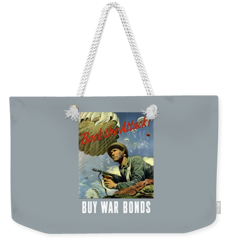 Airborne Weekender Tote Bag featuring the painting Back The Attack Buy War Bonds by War Is Hell Store