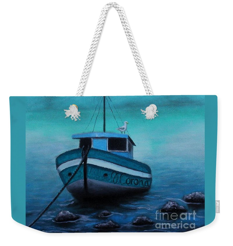 Boat Weekender Tote Bag featuring the painting Back To Shore by Jose Corona