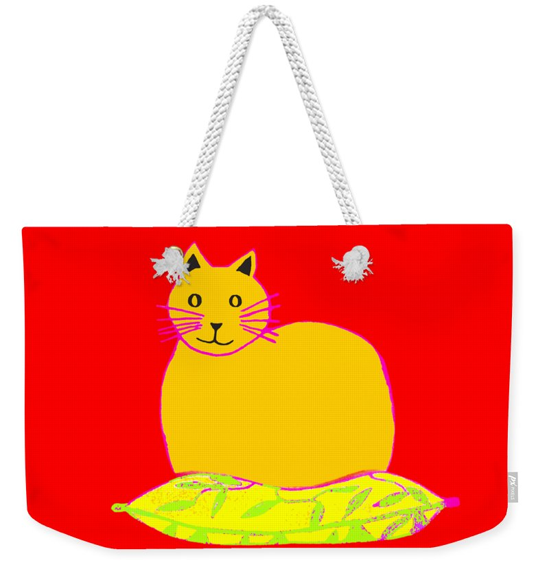 Background Colour Choice Saffron Cat Weekender Tote Bag featuring the drawing Background Colour Choice Saffron Cat by Barbara Moignard
