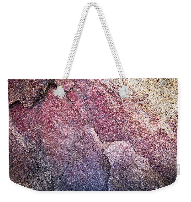 Blue Weekender Tote Bag featuring the photograph Background Dark Detail Block Of Stone by Jozef Jankola
