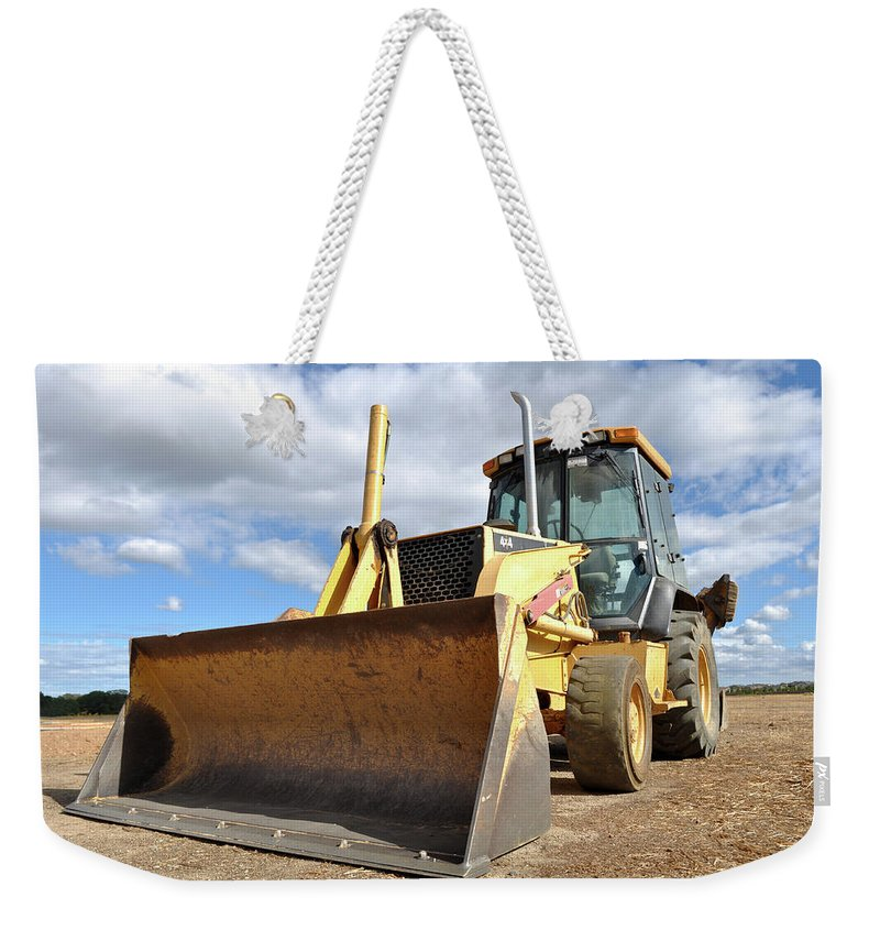 Backhoe Weekender Tote Bag featuring the photograph Backhoe Tractor Construction by Brandon Bourdages