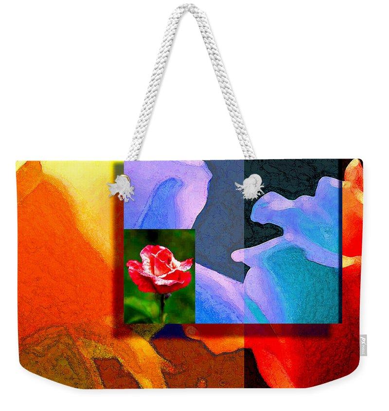 Modern Weekender Tote Bag featuring the digital art Backlit Roses by Stephen Lucas