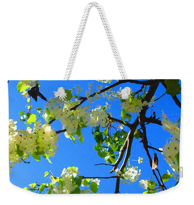 Tree Blossoms Weekender Tote Bag featuring the painting Backlit White Tree Blossoms by Amy Vangsgard