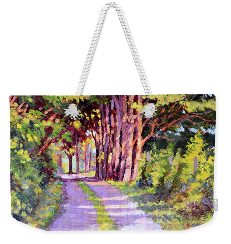 Road Weekender Tote Bag featuring the painting Backroad Canopy by Keith Burgess
