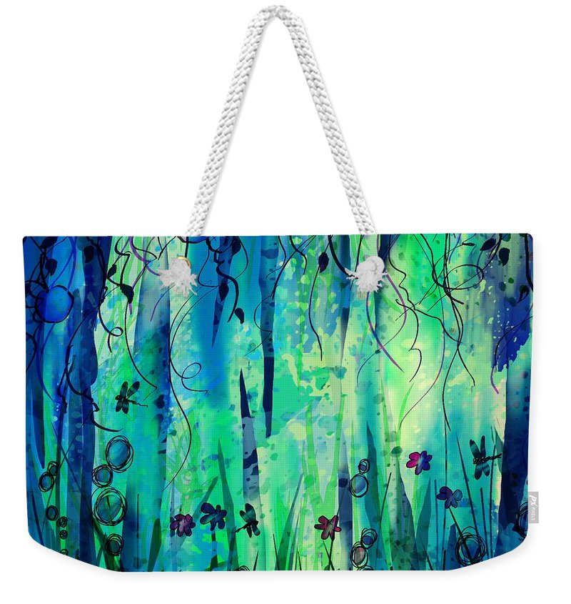 Abstract Weekender Tote Bag featuring the digital art Backyard Dreamer by William Russell Nowicki