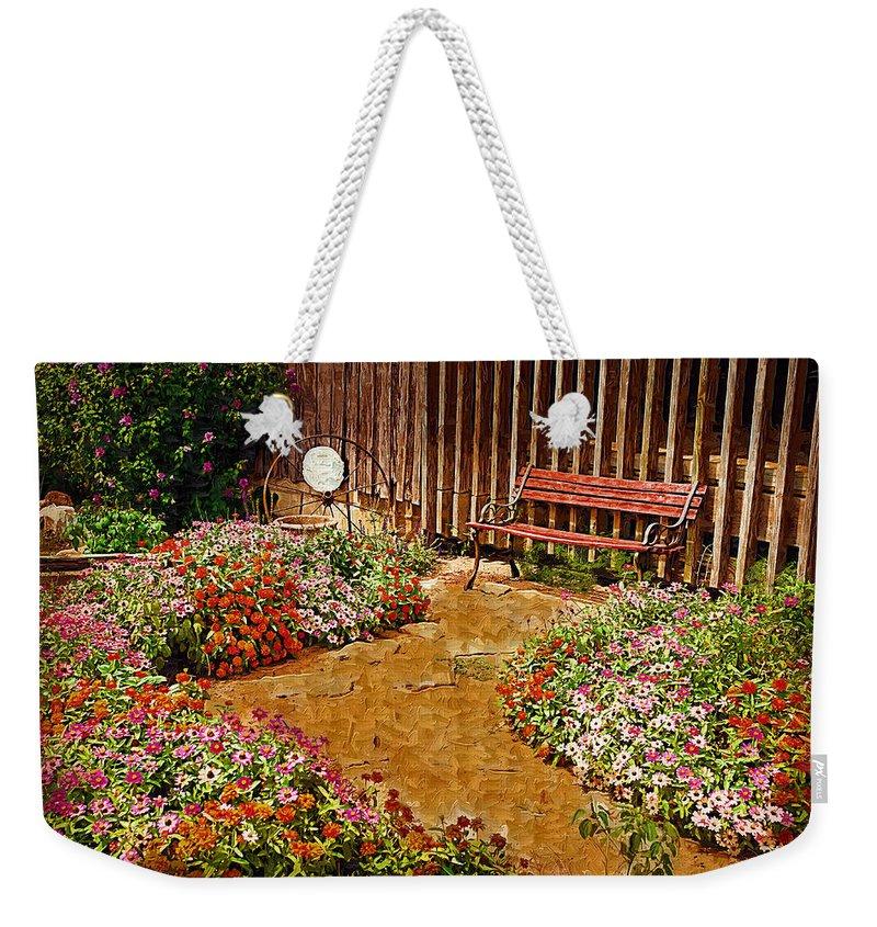 Pink Flower Weekender Tote Bag featuring the digital art Backyard Garden by Paul Bartoszek