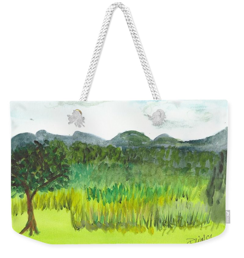 Barton Weekender Tote Bag featuring the painting Backyard In Barton by Donna Walsh