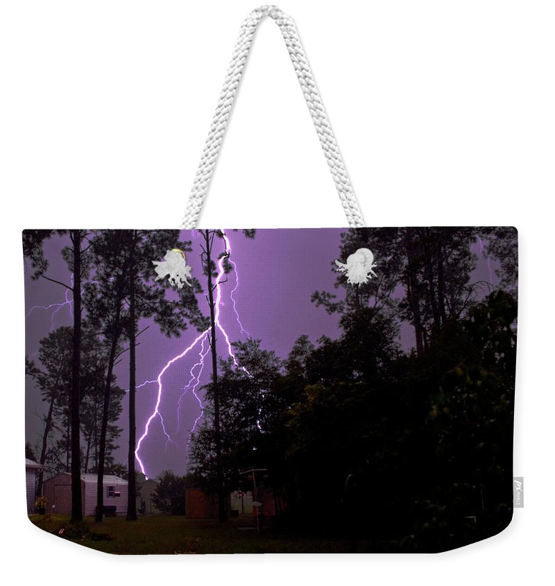 Nature Weekender Tote Bag featuring the photograph Backyard Lightning by Christopher Holmes