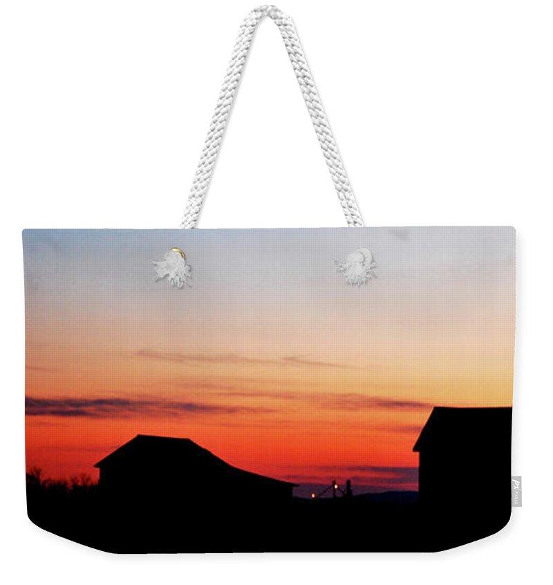 Sunset Weekender Tote Bag featuring the photograph Backyard Sunset by Lori Tambakis