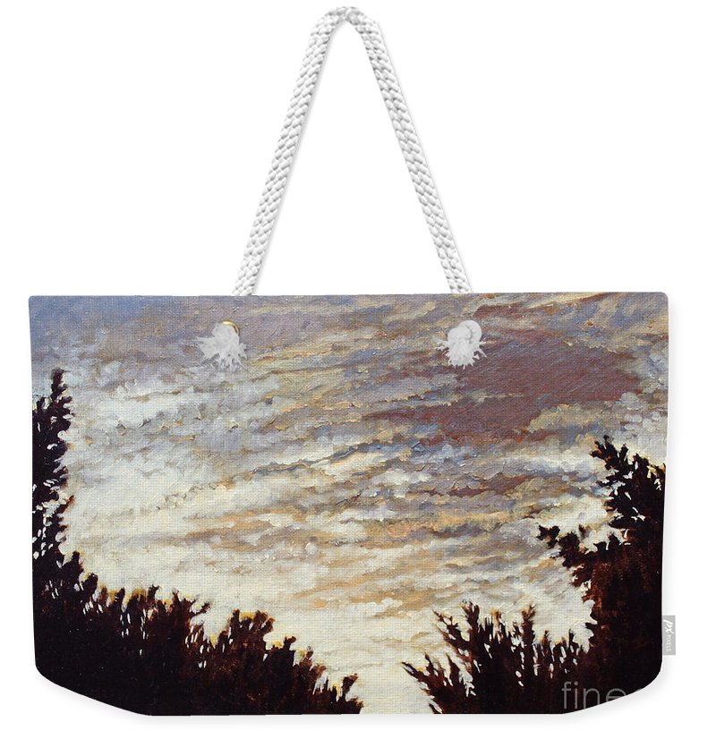 Landscape Weekender Tote Bag featuring the painting Backyard Sunset by Todd Blanchard