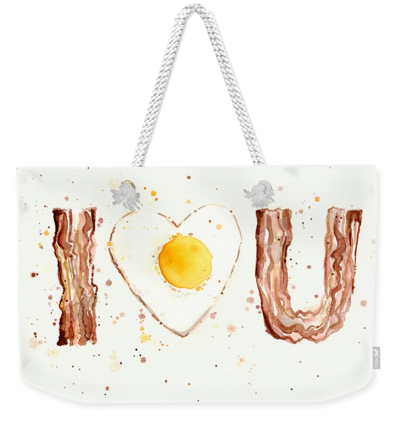 Bacon Weekender Tote Bag featuring the painting Bacon And Egg I Love You by Olga Shvartsur