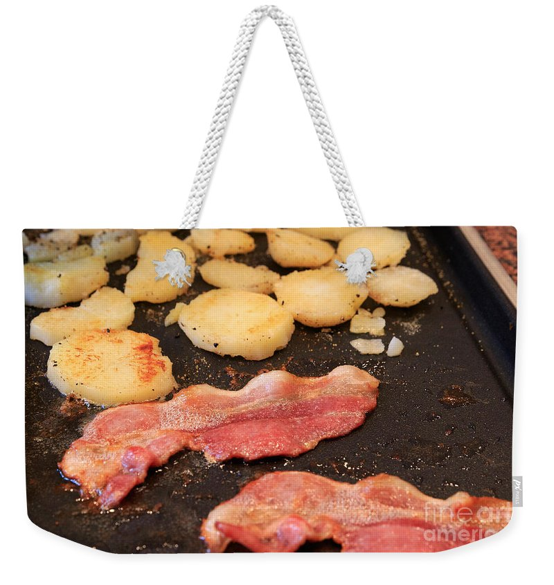 Bacon Weekender Tote Bag featuring the photograph Bacon And Potatoes On A Griddle by Louise Heusinkveld