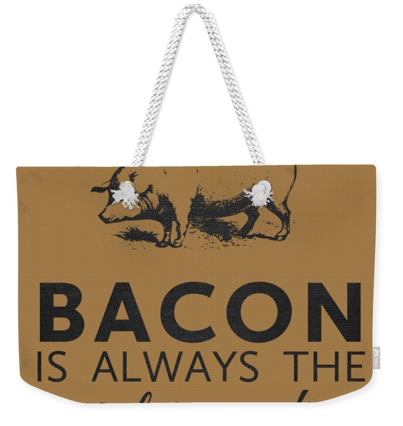 Bacon Weekender Tote Bag featuring the digital art Bacon is Always the Secret Ingredient by Nancy Ingersoll
