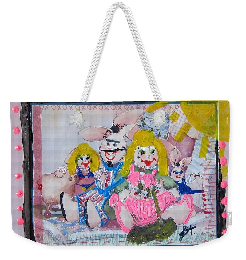 Adult Weekender Tote Bag featuring the painting Bad Bunnies by Lisa Piper