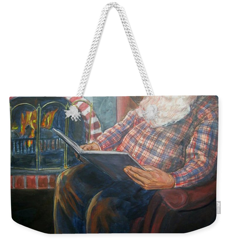 Christmas Weekender Tote Bag featuring the painting Bad Rudolph by Bryan Bustard