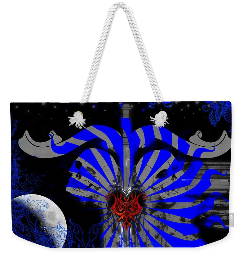 Skulls Weekender Tote Bag featuring the digital art Bad To The Bone by Michael Damiani