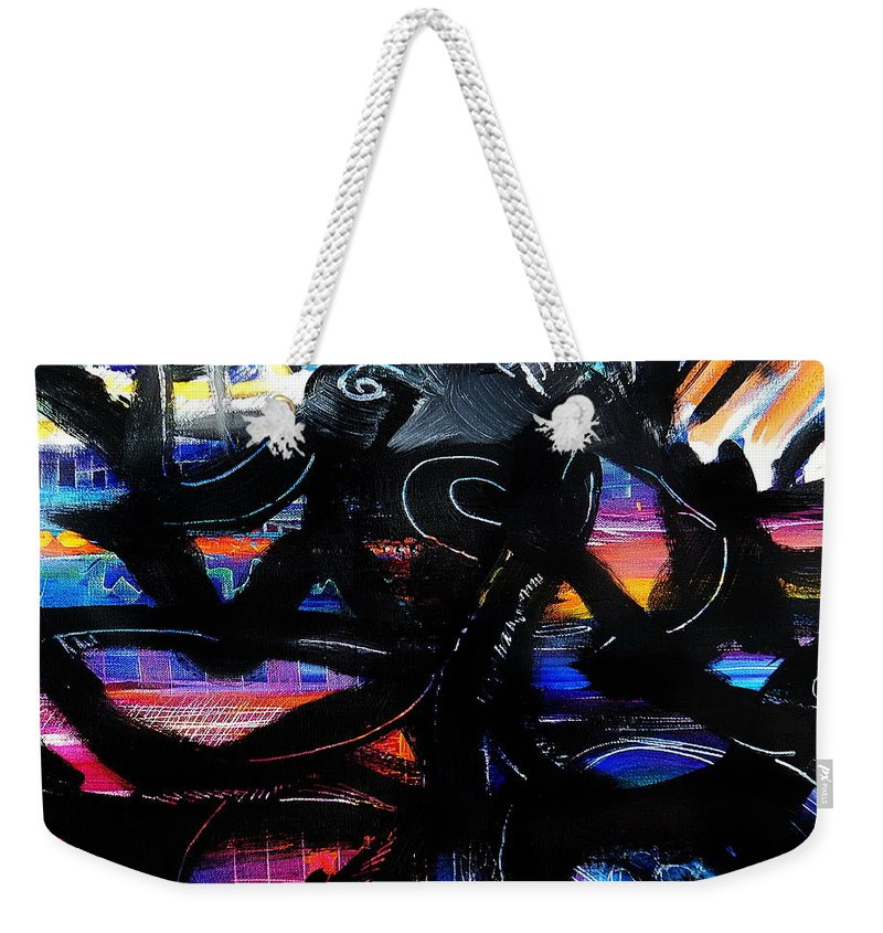 Original Painting On Canvas .abstract Weekender Tote Bag featuring the painting Badass Black by Priscilla Batzell Expressionist Art Studio Gallery
