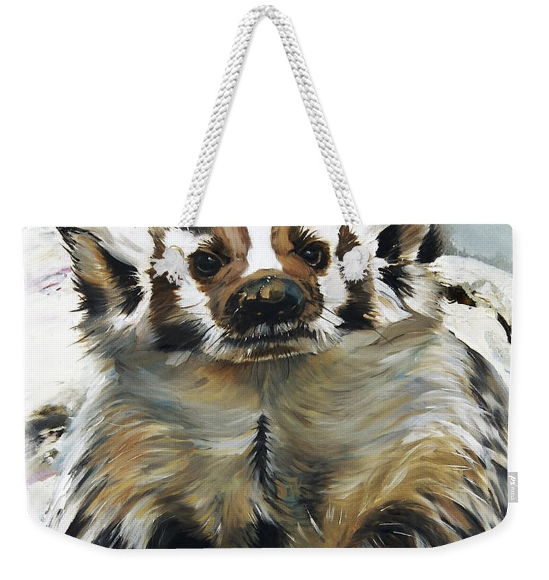 Southwest Art Weekender Tote Bag featuring the painting Badger - Guardian Of The South by J W Baker