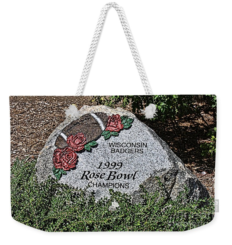 Camp Randall Weekender Tote Bag featuring the photograph Badger Rose Bowl Win 1999 by Tommy Anderson