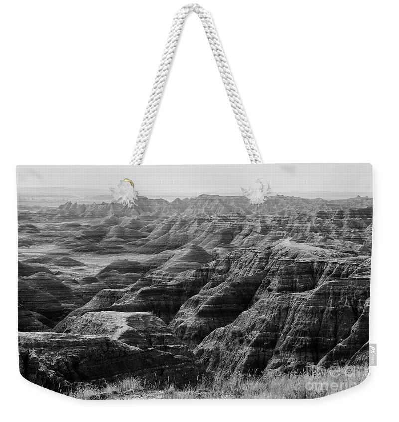 Badlands Weekender Tote Bag featuring the photograph Badlands Of South Dakota #2 by Stanton Tubb