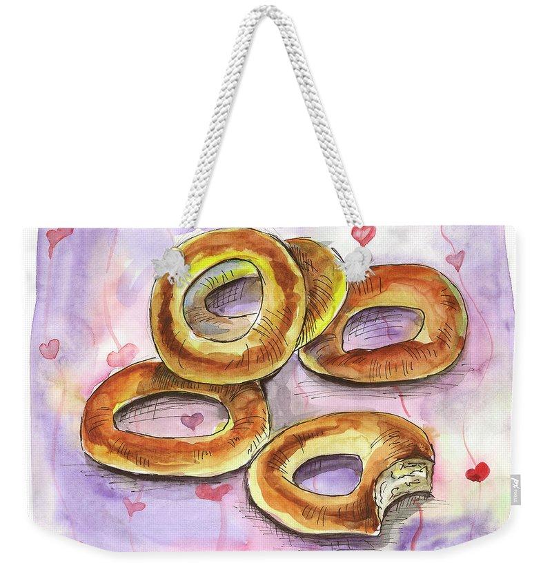 Bagels Weekender Tote Bag featuring the painting Bagels by Yana Sadykova