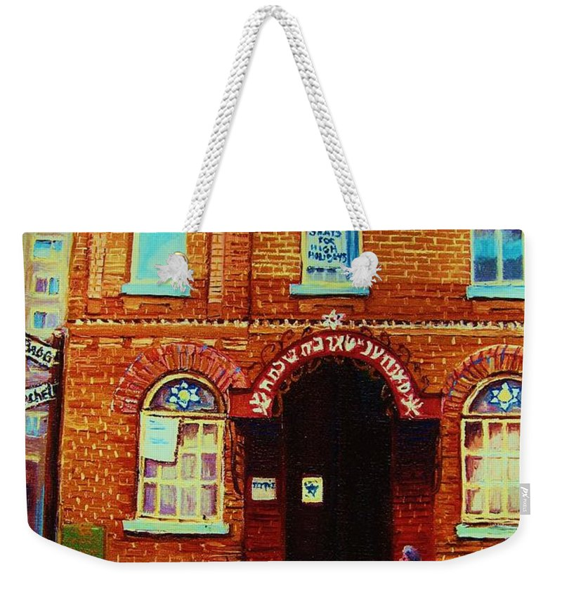 Judaica Weekender Tote Bag featuring the painting Bagg Street Synagogue by Carole Spandau