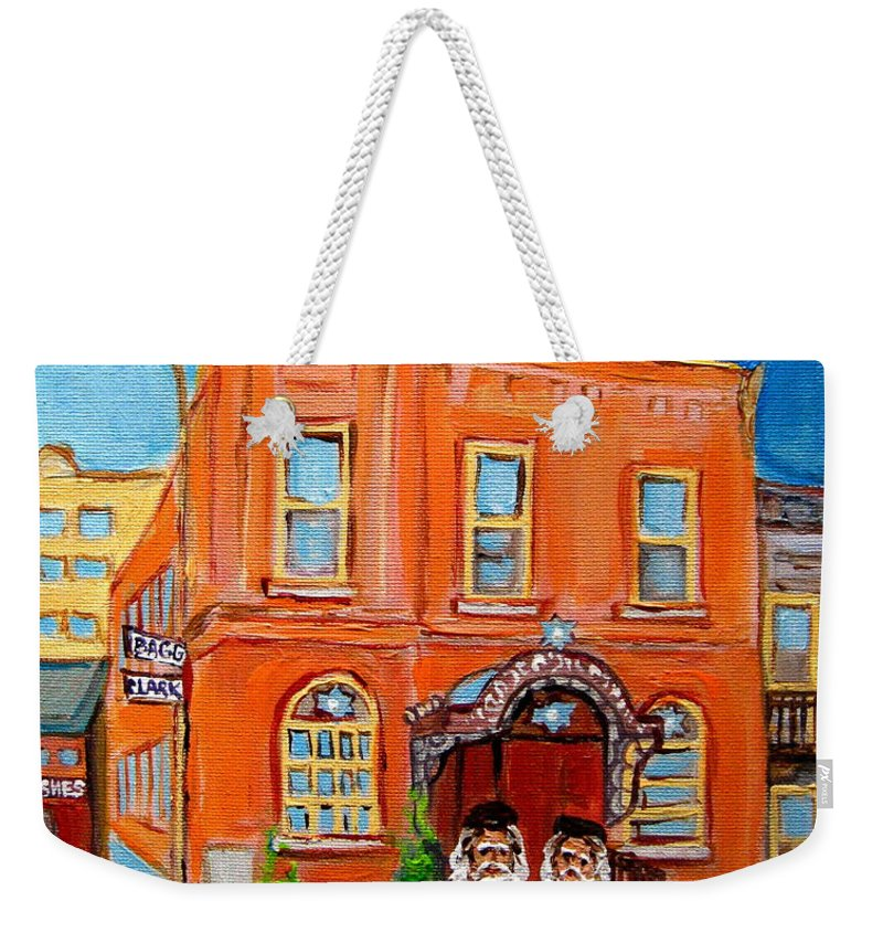 Bagg Street Synagogue Sabbath Weekender Tote Bag featuring the painting Bagg Street Synagogue Sabbath by Carole Spandau