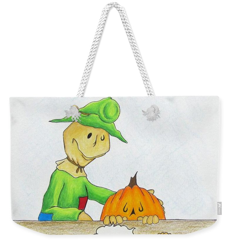 Michael Tmad Finney Weekender Tote Bag featuring the drawing Baggs And Boo Canned Pumpkin by Michael TMAD Finney