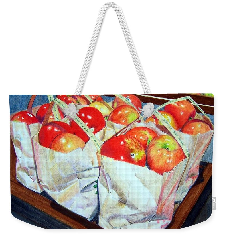Apples Weekender Tote Bag featuring the mixed media Bags Of Apples by Constance Drescher