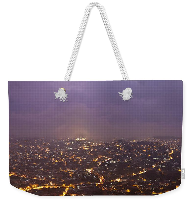 Panoramic Weekender Tote Bag featuring the photograph Baguio At Night by George Cabig